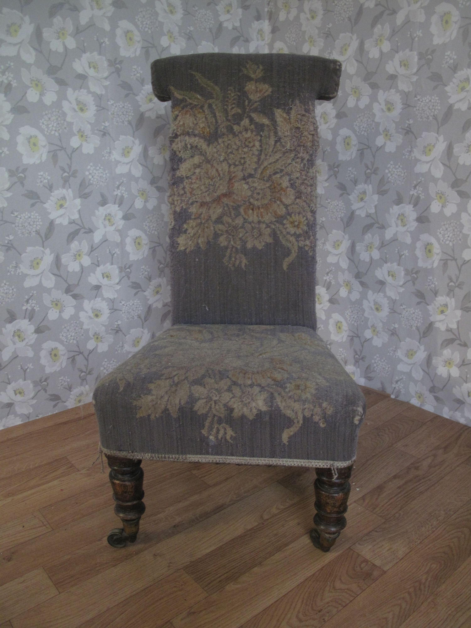 Prayer Chair Tapestry ... - Victorian Prayer Chair (Prie Dieu) Number 10 Upholstery In Dorset