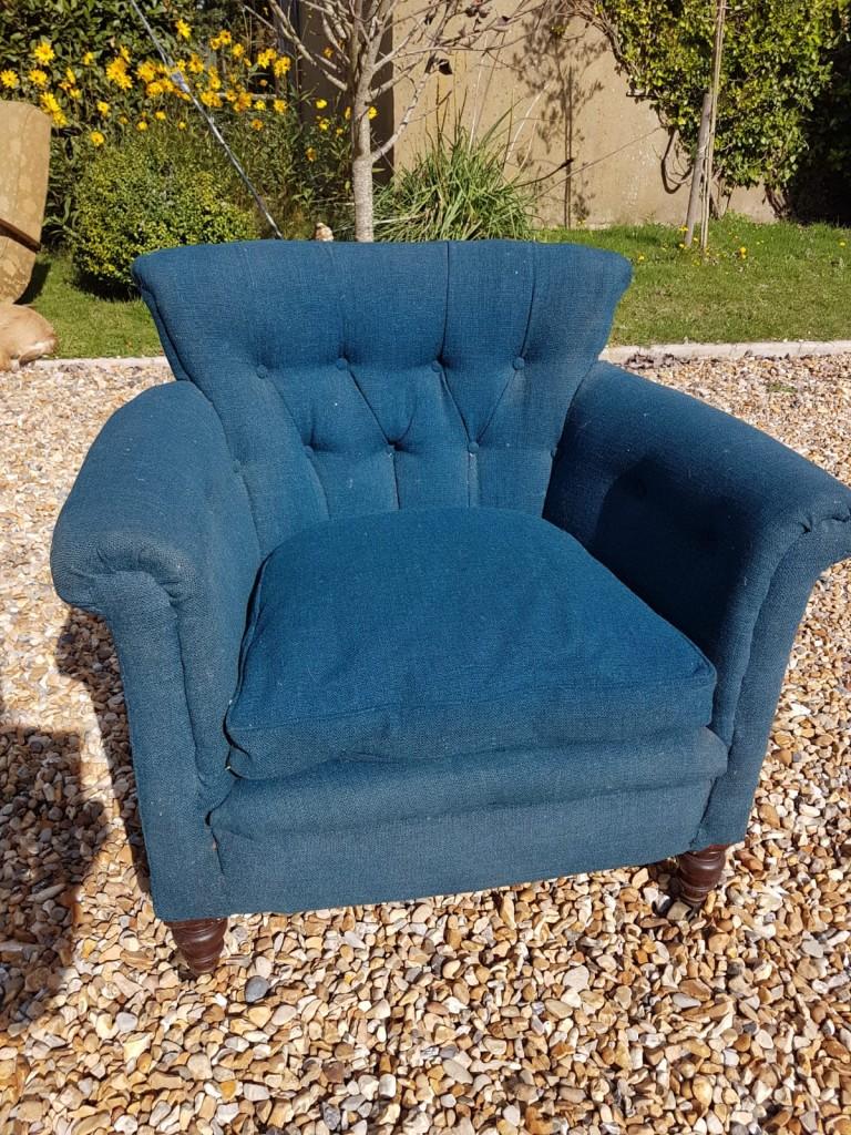 Vintage Blue Button Back Tub Chair
