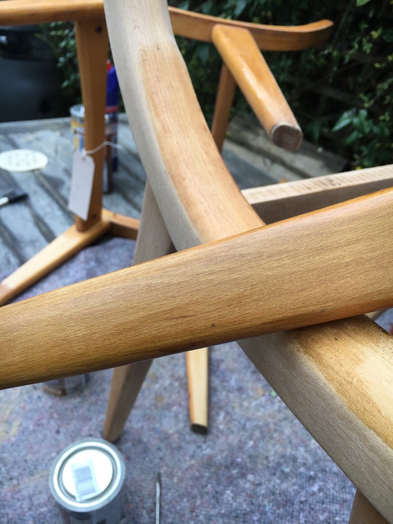 Sanding and oiling the wooden frames.