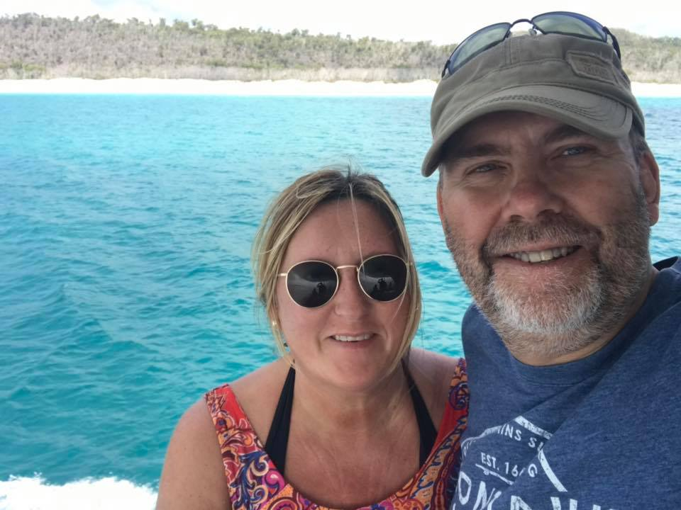 Cally and hubby Mike enjoying Hamilton Island to celebrate their Anniversary